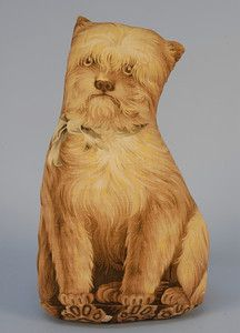 TATTERS PRINTED COTTON STUFFED DOG TOY, LATE 19th C. Arnold Print Works, North Adams Mass., copyright 1892. Seated terrier with bow.