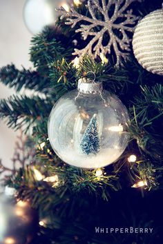DIY snow globe ornament, for those 4 extra empty ornaments I have to use up. What else to add besides the tree + snow? All I Want For Christmas, Noel Christmas, Winter Christmas, All Things Christmas, Christmas Bulbs, Christmas Decorations, Homemade Christmas, Christmas Colors, Christmas Ideas