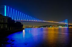 Boğaziçi Köprüsü in İstanbul, İstanbul, Turkey. The team needed an impressive lighting system for 1 mile bridge that connects Europe to Asia. The Philips Color Kinetics lighting solution highlights the towers, steel cables, and rails. Energy-efficient fixtures shine intense, color-changing light while making Istanbul a valued icon for daily exchange.