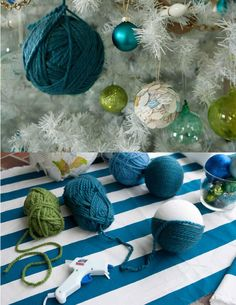 DIY yarn ornaments!  Now I know what to do with my extra yarn!  Love!