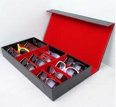 nice Black&Red Color 18.9*10.2*2.7inch 12 grids Sunglass/Eyewear/Jewelry/Watches Organizer Storage Display Case&Box high quality