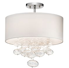 Elan Piatt 83239 Ceiling Light - Chrome Finish With White Hardback Shade With Clear Oval Blown Glass Accents LIGHT SOURCE: (3) 40W (G9) Lamps supplied.   Fixture Dimensions:  16.00 Dia. x 18.50 H