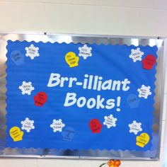 "Here is a simple January bulletin board. The mittens have winter themed book titles, and the snowflake each mitten is ""catching"" is the book's author."