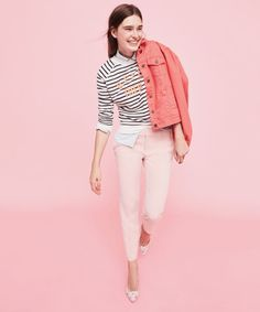 pink jeans striped sweatshirt top outfit
