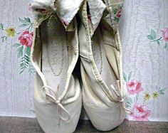 Altered ballet pointe/toe shoes, cream color with floral ties, shabby display for studio or bedroom, jeanne d'arc style shoes, girls decor