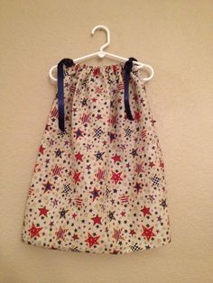 Stars & Stripes Print with Navy Ribbons Toddler Bandana Dress/Child's Top - $12.00 - To order email me at mailto:chloecreat.... Also, check out our Chloe Creations page on Facebook!