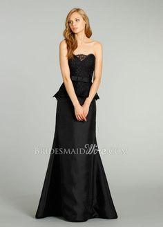 black strapless scalloped neck bridesmaid gown with lace peplum.$ 529.00 off $199.29