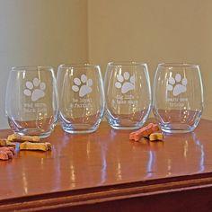 Susquehanna Glass Dog Wisdom Stemless Wine Glasses (Set of 4) (Dog Wisdom Stemless Wine Glasses, 21oz, S/4), Clear