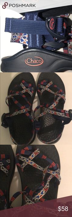 NWOB Chacos Never Worn! Size 7 \\ these have no flaws, no defects, I bought them for a trip and ended up not needing them, never worn! Colors are navy, red and white and the sole is black. They can be tightened or loosened! Paid almost $100 for these about 6 months ago! Chaco Shoes Sandals