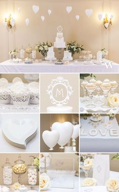 Create An Amazing Cake & Dessert Buffet Table!  We sell all the supplies including the filigree cupcake wrappers, floating monogram cake topper,  mini martini glasses, heart-shaped plates, love serving plates, apothecary jars, and self-standing goodie bag
