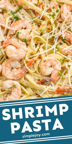 Shrimp Pasta is the perfect 30 minute weeknight meal. With it's easy creamy sauce, it's like a Shrimp Alfredo Pasta that the whole family will love. Best Seafood Recipes, Shrimp Pasta Recipes, Easy Pasta Recipes, Easy Chicken Recipes, Fish Recipes, Cooking Recipes, Pasta Recipies, Seafood Pasta, Seafood Dinner