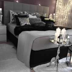 gray bedroom with pop of color ; gray bedroom ideas with pop of color ; gray bedroom ideas for couples ; White Bedroom, Damask Bedroom, Black Bedroom Decor, Black And Grey Bedroom, Black Master Bedroom, Black Bed Room Ideas, Bedroom Simple, Trendy Bedroom, Bedroom Wallpaper