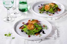 Kamskjell er festmat og ser lekkert ut servert med grønn ertepuré og kremet balsamicosaus. Raskt og enkelt er det også.