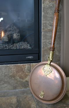Antique Brass Bed Warmer | Vintage Copper & Brass Bed Warmer w Long Wooden Handle | Mid 20th ...