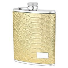 Gold Python Leather Flask