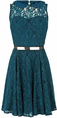 Oasis Lula Lace Dress: I adore teal dresses with lace and metal belts.