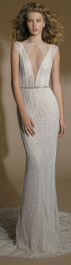 The #GALA101 is a hand-beaded fitted mermaid dress in a geometric pattern over a fine sheer netting with a v-neckline - it comes in ivory, blush and nude. #GALAbyGaliaLahav #WeddingDress #GALAno6 #WeddingGown #WeddingInspiration #Bridal #WeddingPlanning