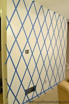 How to paint a Diamond Accent Wall with ScotchBlue tape- for the blue wall in our bedroom?