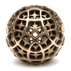 3D printed metal part dodecahedron_12 designed by Vladimir Bulatov on www.bulatov.org #3dPrintedShapes