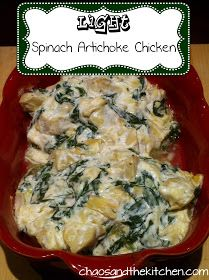 Chaos and the Kitchen: Baked Creamy Spinach And Artichoke Chicken