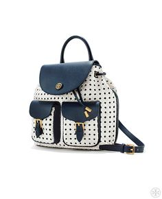 The backpack is back — in an unexpected lattice basketweave | Tory Burch Spring 2014