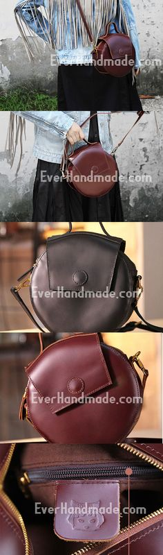 Handmade handbag purse leather round crossbody bag purse shoulder bag for