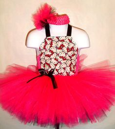Hello Kitty Tutu Dress (Pageant, Birthday, Costume, Punk, Pink, Black, Rock Star