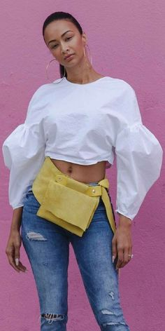 Coachella Yellow Suede Fanny Pack by I Am Jacque // Fashion Look by Draya Michelle