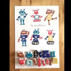 Let's see how much the robots that I can made? Stamp Printing, Printing On Fabric, Screen Printing, Diy And Crafts, Crafts For Kids, Arts And Crafts, Paper Crafts, Stencil, Eraser Stamp
