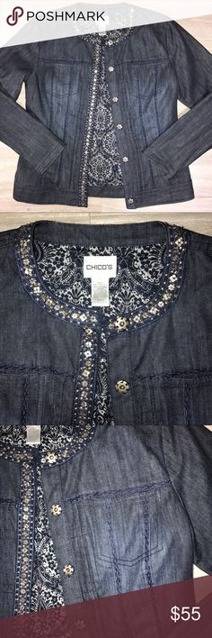 Chicos Embellished Dark Indigo Jean Jacket Chicos dark indigo jean jacket. Embellished with pewter mosaic metal detail and dark blue cross stitch accents. Snap buttons. Great condition. Chico's size 0 equals size small, see attached Chico's sizing chart in listing photos. Chico's Jackets & Coats Jean Jackets