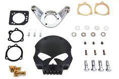 Wyatt Gatling Black Skull Air Cleaner Assembly Kit FXST FXD (NEW) Bobber Chopper #VTwinManufacturing
