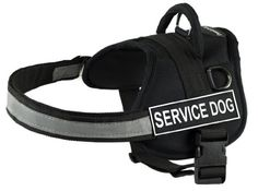DT Works Harness, Service Dog, Black/White, Large - Fits Girth Size: 34-Inch to 47-Inch ** Check out this great article. #DogCollarsHarnessesLeashes