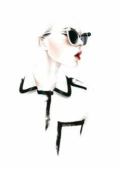 black and white illustrated girl glasses