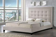 Amazon.com: Baxton Studio Hirst Platform Bed, Queen, Light Beige: Kitchen & Dining