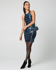 Sequin+Halter+Neck+Cocktail+Dress