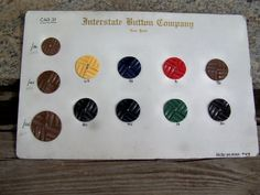 Vintage Buttons Salesman Samples, Sewing Supplies 11 Bakelite Button Board 1934 , Interstate Button Company New York