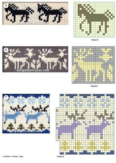 Jacquard patterns with a thematic pattern horse and deer (knitting) Fair Isle Knitting Patterns, Fair Isle Pattern, Knitting Charts, Knitting Stitches, Knitting Socks, Baby Knitting, Chart Design, Cross Stitch Animals, Tapestry Crochet