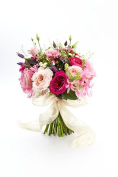 Hand tied bouquet of hot pink roses, nerines, clematis, lisianthus and green bell Bride Bouquets, Floral Bouquets, Bridesmaid Bouquet, Ivory Wedding Flowers, Bridal Flowers, Wedding Colors, Hot Pink Roses, Hand Tied Bouquet, Pretty Flowers