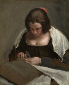 """Artist Diego Velázquez is recognized as the leading Spanish painter of the century. He was born in Seville, Spain and in Veláquez obtained the appointment of painter to Philip IV. Diego Velázquez (Spanish), """"The Needlewoman,"""" c. oil on canvas Caravaggio, Spanish Painters, Spanish Artists, Wassily Kandinsky, National Gallery Of Art, Art Gallery, Renaissance, Diego Velazquez, John Russell"""