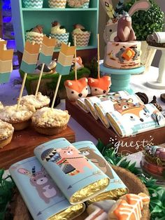Ideas Baby Shower Decorations For Boys Woodland Fox Party, Animal Party, Forest Party, Woodland Party, Baby Boy 1st Birthday, 1st Birthday Parties, Birthday Crafts, Woodland Animals Theme, Baby Shower Decorations For Boys