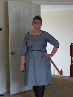 Dahlia dress from Colette Patterns.  Used Robert Kaufman herringbone flannel.