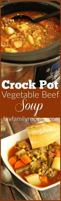 This Slow Cooker Vegetable Beef Soup is one of the easiest soups you will ever make. A flavor-filled soup the entire family will love! via @favfamilyrecipz