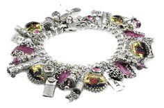 Silver Charm Bracelet, Wine Charm Bracelet, Silver Charm Bracelet, Wine…