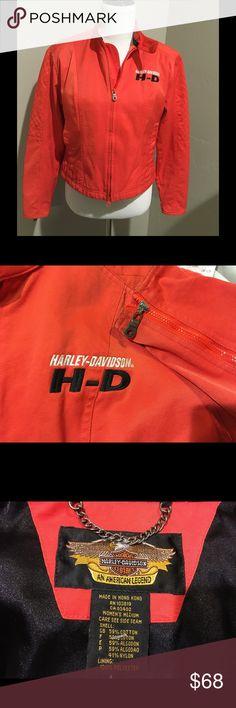 Harley Davidson Jacket Orange wth zip sleeves Harley-Davidson Jackets & Coats