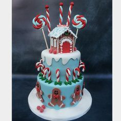 Red & Aqua Gingerbread Man and Candy Cane Birthday Cake (Gemma)