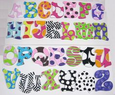 I would do this for a baby room Letter Door Hangers, Door Letters, Letter Wall, Painting Wooden Letters, Painted Letters, Dot Painting, Sunday School Kids, Wall Candy, Arte Country