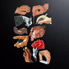 f045c23e8f6f1 1940s-1960s BANANASTRUDEL INGREDIENTS - 10-pc. Handcut Almost Life-Size  Hands Ephemera Pack   Kit. Junk Journal   Art   Collage Supplies