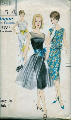 UNCUT * Vintage Vogue Pattern 9946 - GLAM Cocktail Party Dress and Detachable Sheer Overskirt * Size 10 * Bust 31 / Easy to Make image 0 Cocktail Party Outfit, Dress Party, Party Dresses, 1960s Fashion, Vintage Fashion, Classic Fashion, Gothic Fashion, Vintage Vogue Patterns, Vintage Sewing