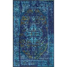 World Menagerie Loch Blue Area Rug & Reviews | Wayfair