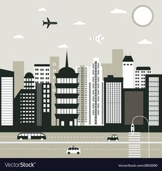 City in black and white vector image on VectorStock White Colors, Black And White Colour, City Life, Adobe Illustrator, Vector Free, Pdf, Wallpaper, Wallpapers